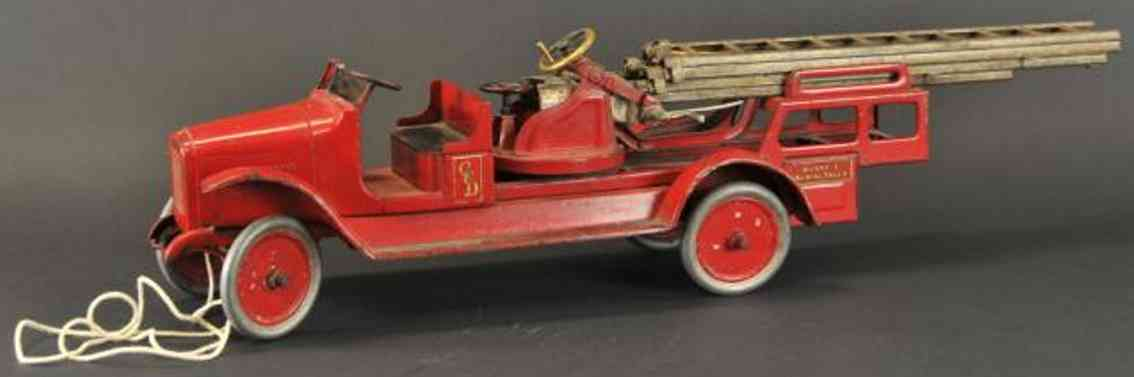 buddy l toy fire engine aerial ladder truck pressed steel