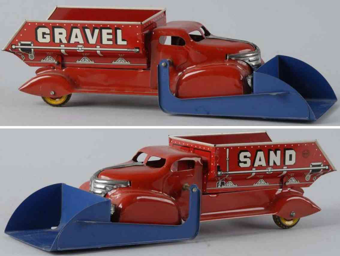 buddy l pressed steel toy gravel sand dump truck