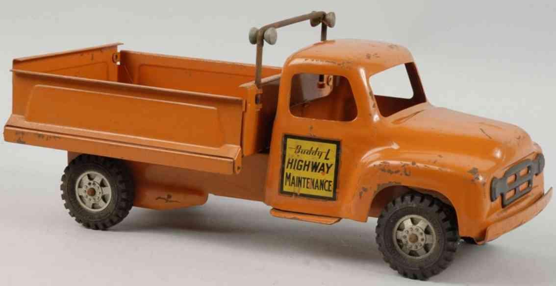 buddy l stahlblech spielzeug aubahn-instandhaltungswagen orange