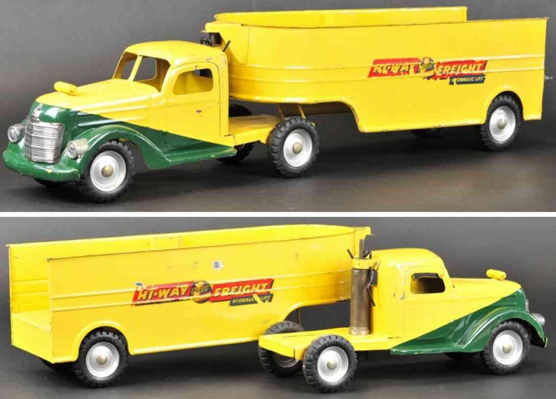 buddy l stahlblech spielzeug hi-way fracht-lastwagen gelb gruen