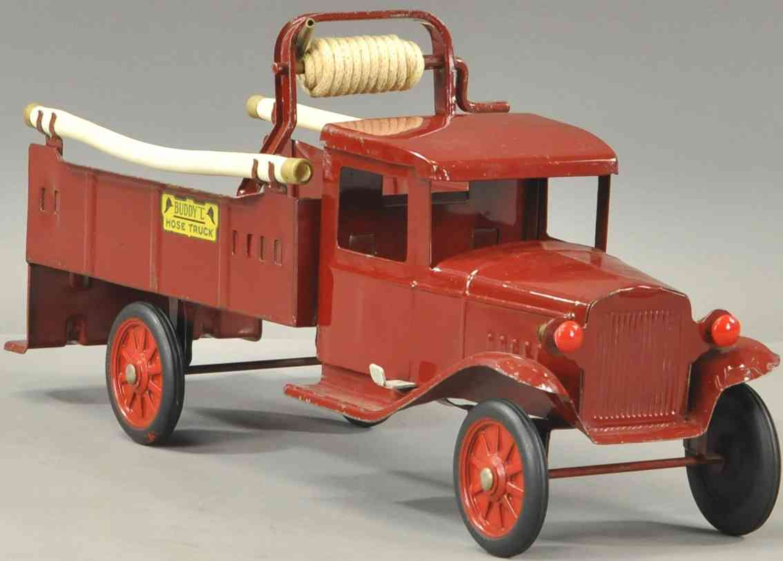buddy l tin toy truck hose truck in red