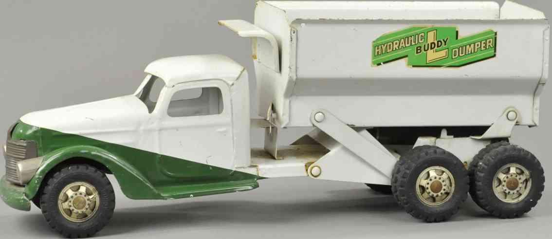 buddy l stahlblech spielzeug hydrualischer kipplastwagen gruen weiss