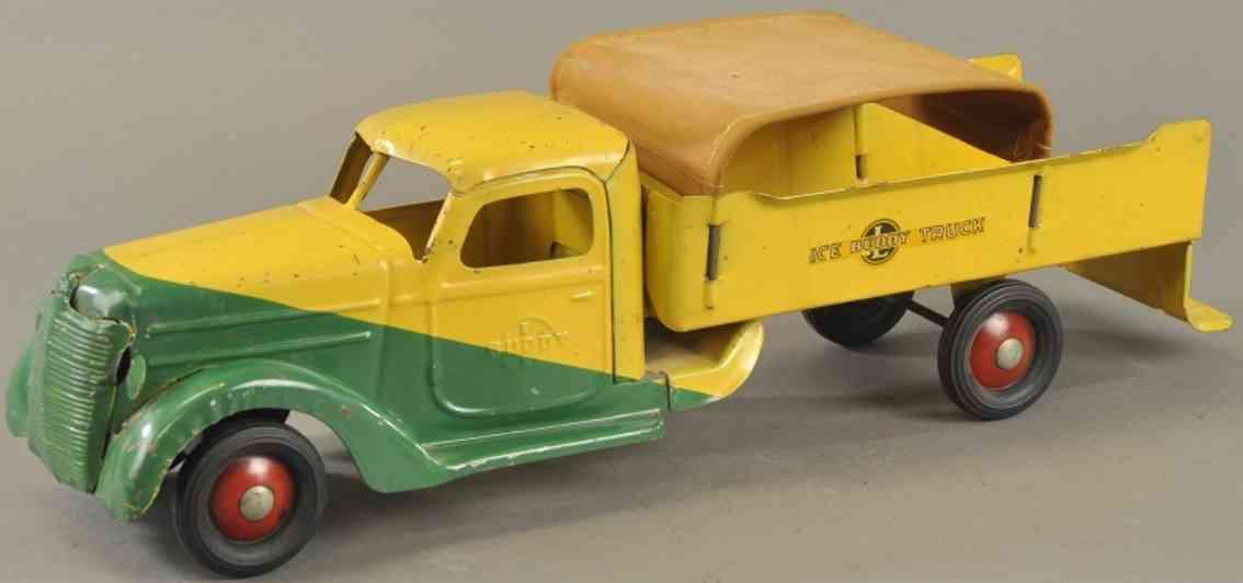 buddy l stahlblech spielzeug lastwagen eis-lastwagen gelb gruen