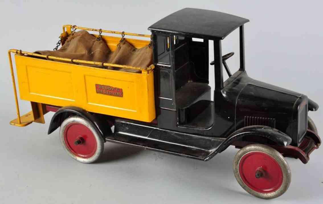 buddy l stahlblech spielzeug eis-lieferwagen schwarz gelb