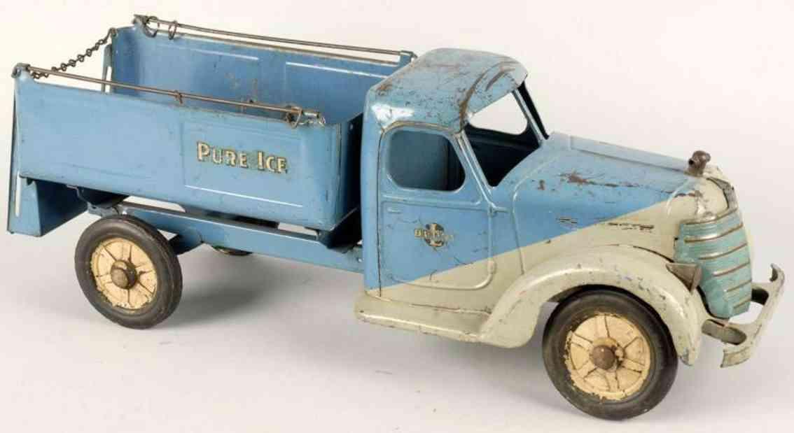 buddy l stahlblech spielzeug eis-lastwagen weiss blau