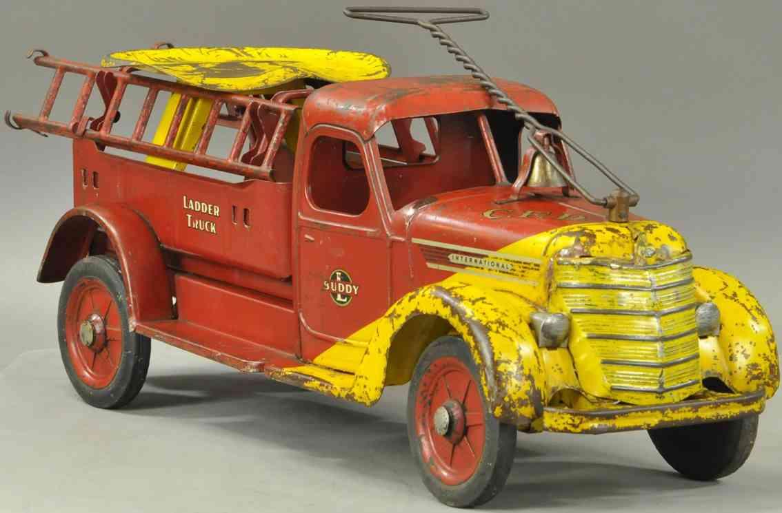 buddy l tin toy fire engine international fire ladde ride-on truck