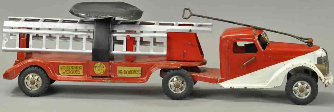 buddy l blech spielzeug rutschauto feuerwehrleiterwagen rot weiss