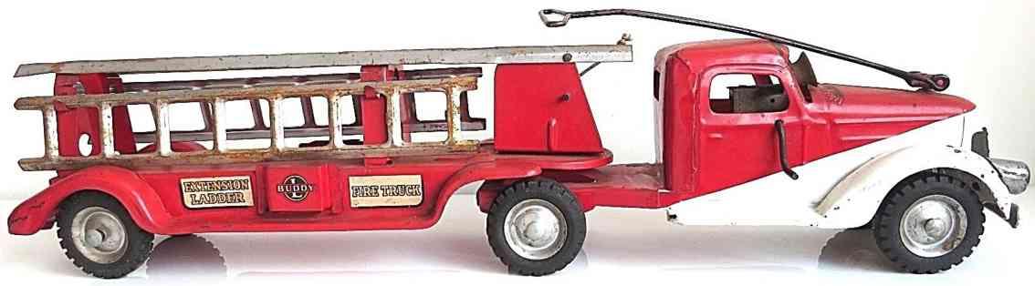 buddy l stahlblech spielzeug feuerwehrleiterwagen ausziehbare leiter rot weiss