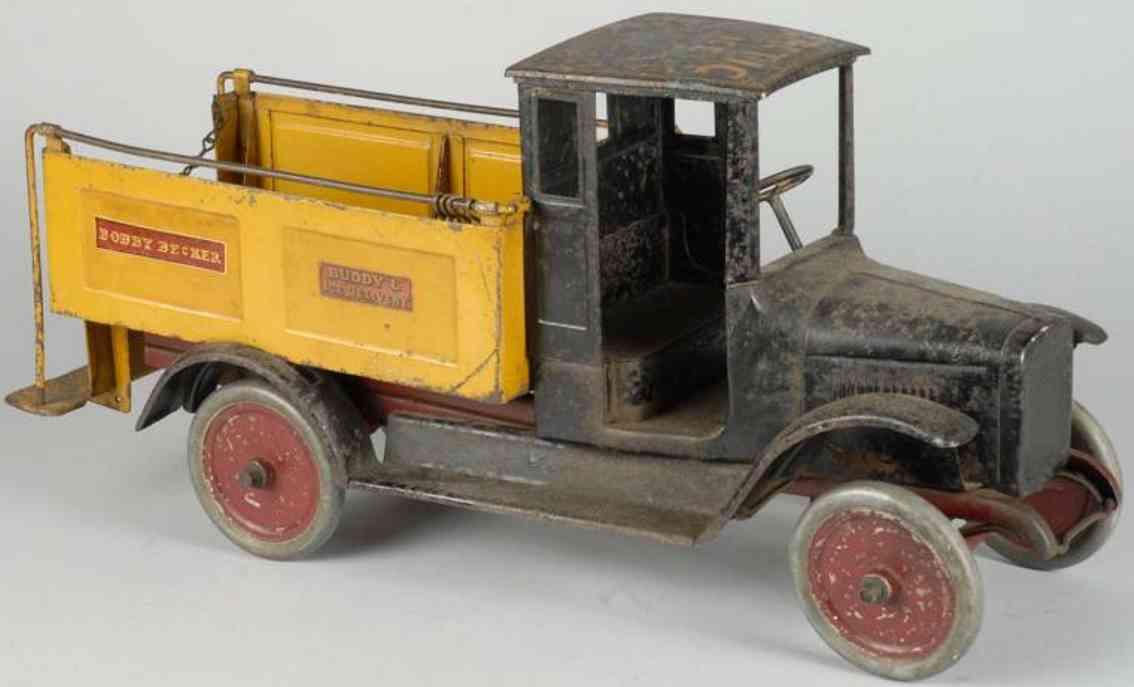 buddy l stahlblech spielzeug eis-lastwagen schwarz gelb
