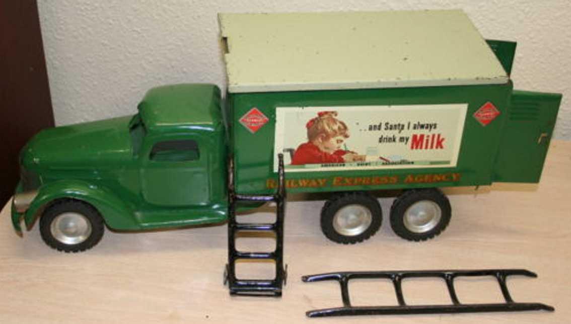 buddy l  blech spielzeug lastwagen gruen railway express milk