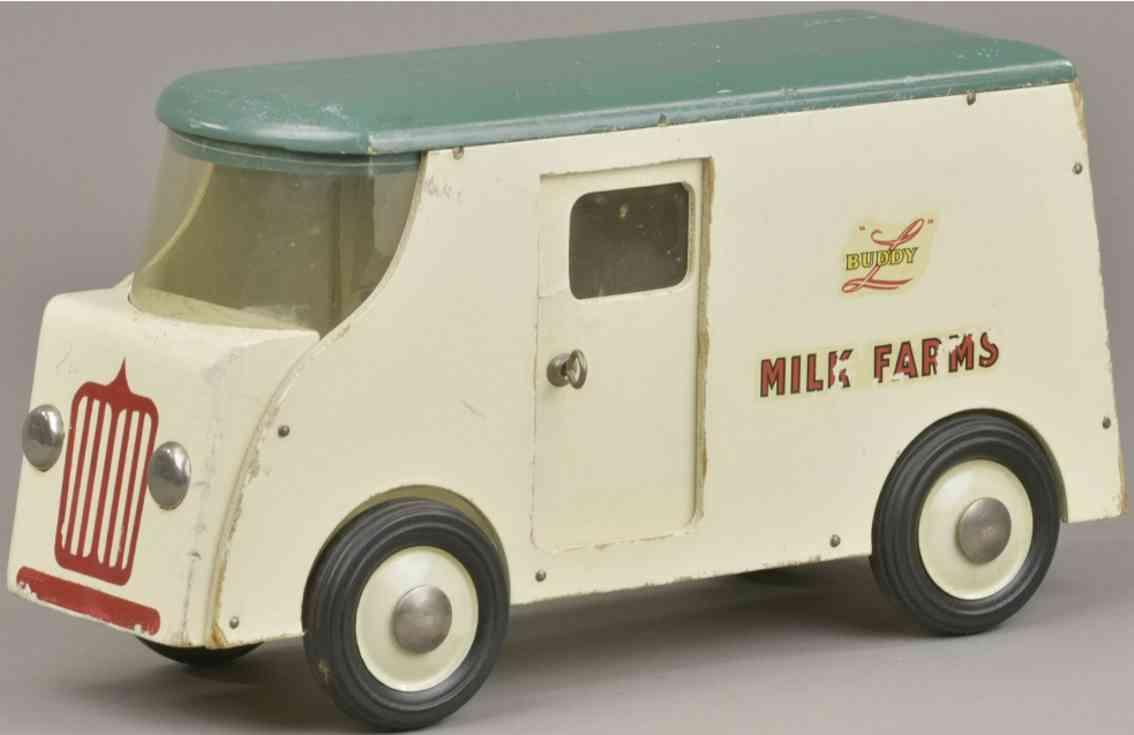 buddy l holz spielzeug auto lieferwagen weiß rot gruenmilk farm