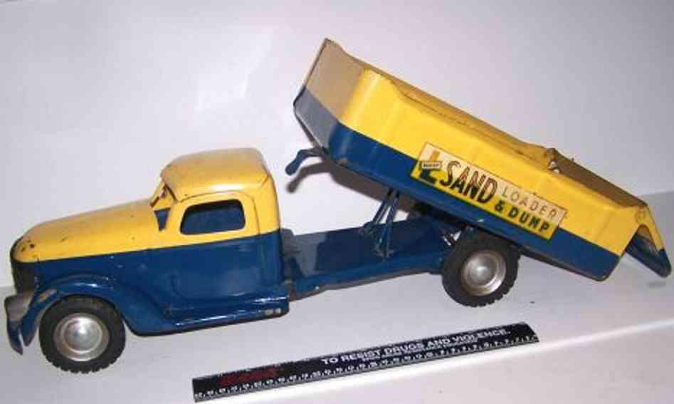 buddy l 810 tin toy sand loader dump truck yellow blue