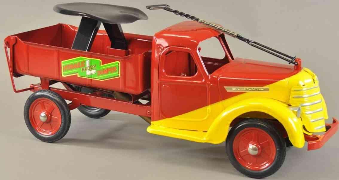 buddy l stahlblech spielzeug hydraulischer aufsitz-kipplastwagen rot gelb
