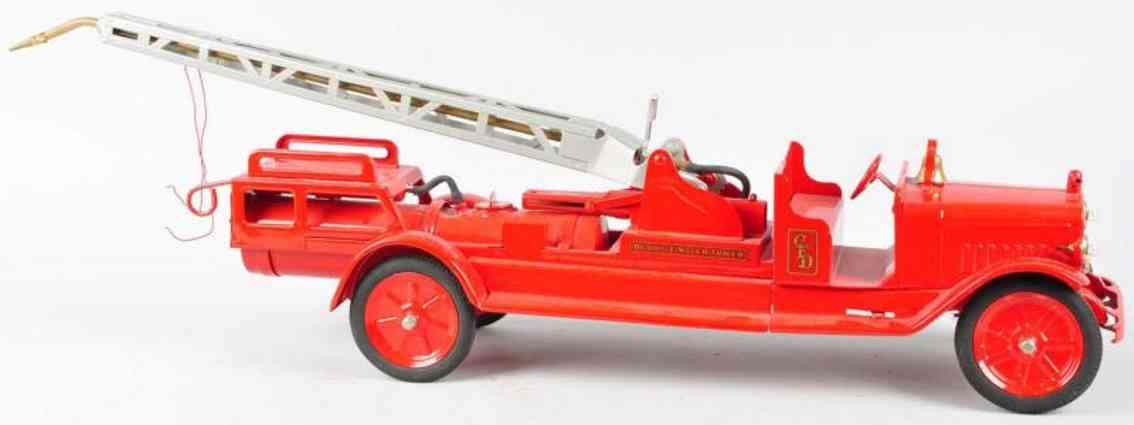 buddy l pressed steel toy sit and ride fire truck