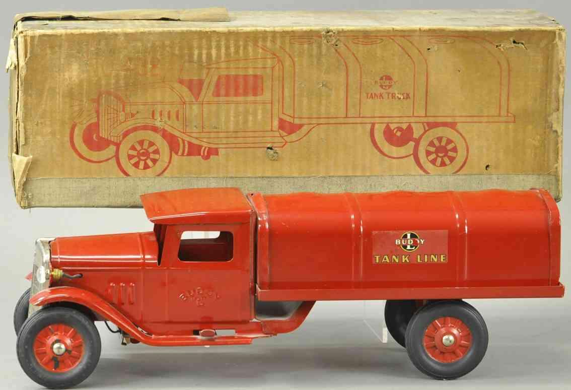 buddy l stahblech spielzeug tanklastwagen rot tank line