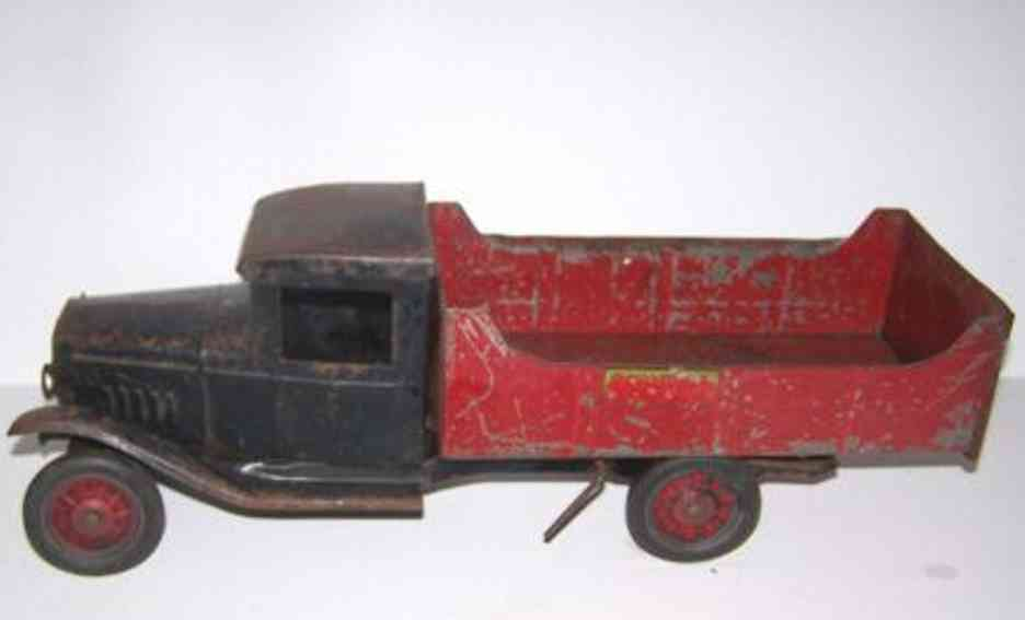 buddy l tin toy truck dump truck black red