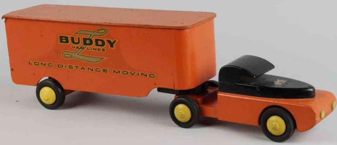 buddy l holz spielzeug umzugswagen orange schwarz