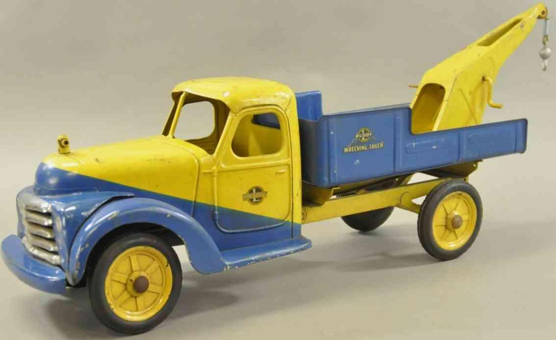 buddy l stahlblech spielzeug werksprototy, abschleppwagen gelb blau