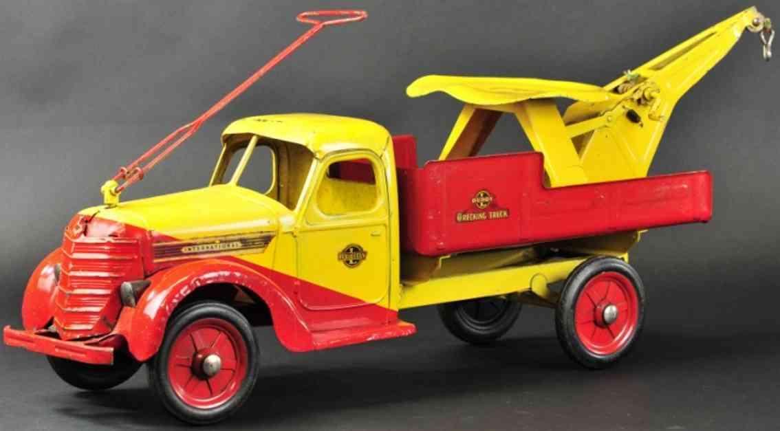 buddy l stahlblech spielzeug delux rutsch-abschleppwagen gelb rot