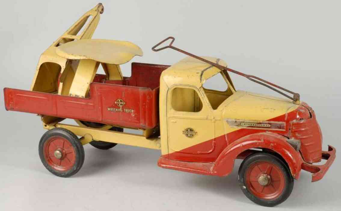 buddy l pressed steel toy sit and ride-on wrecking truck red