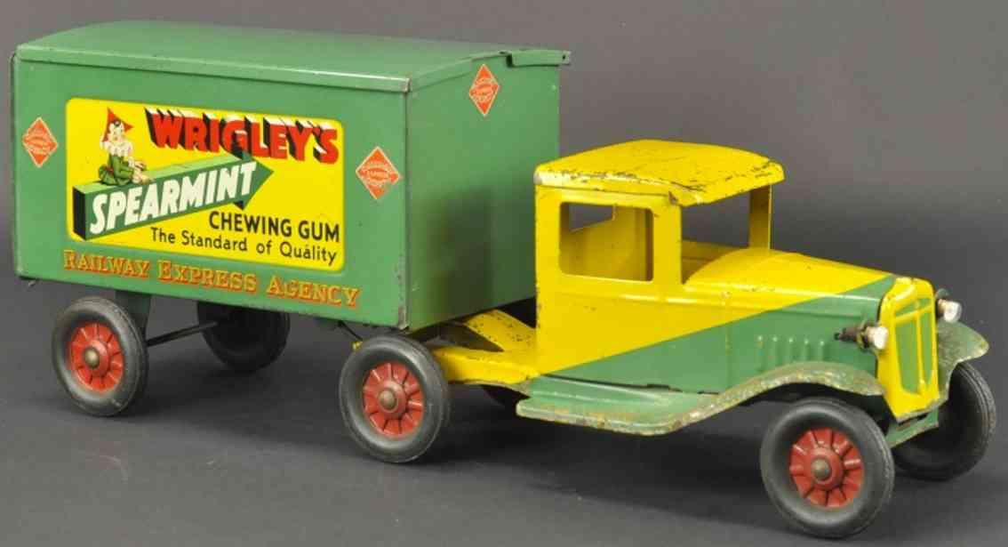 buddy l blech spielzeug wrigley's lastwagen internationale zugmaschine gruen gelb