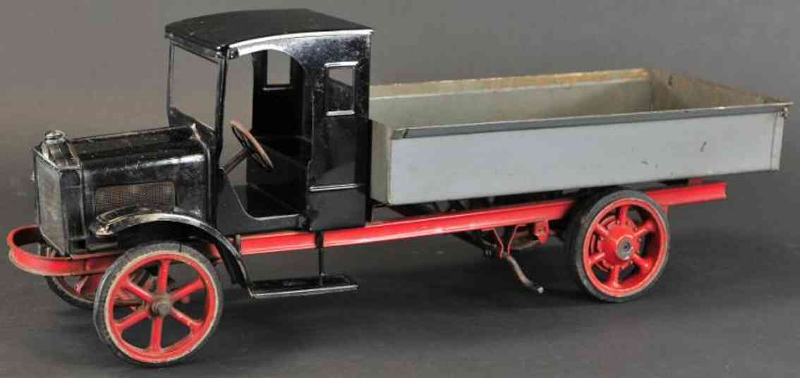 burdette murray tin toy truck white dump pressed steel, doorless black cab stamped and gre