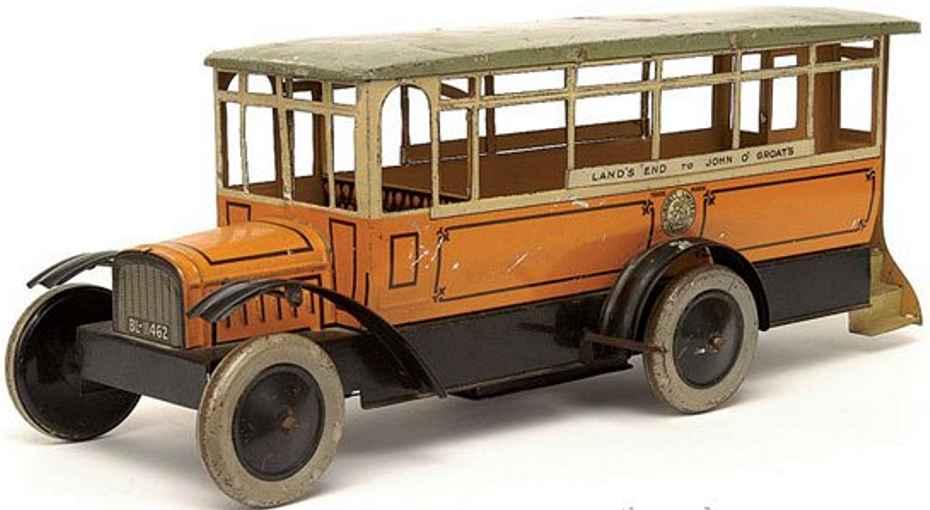 burnett ltd tin toy clockwork bus yellow bl-11462
