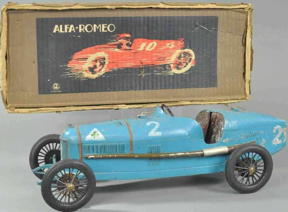 burnett ltd tin toy race car p2 alfa romeo racer blue clockwork