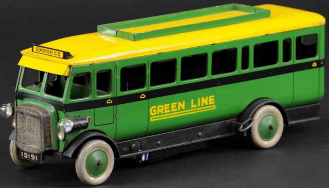 burnett ltd blech spielzeug autobus gruen gelb greenline