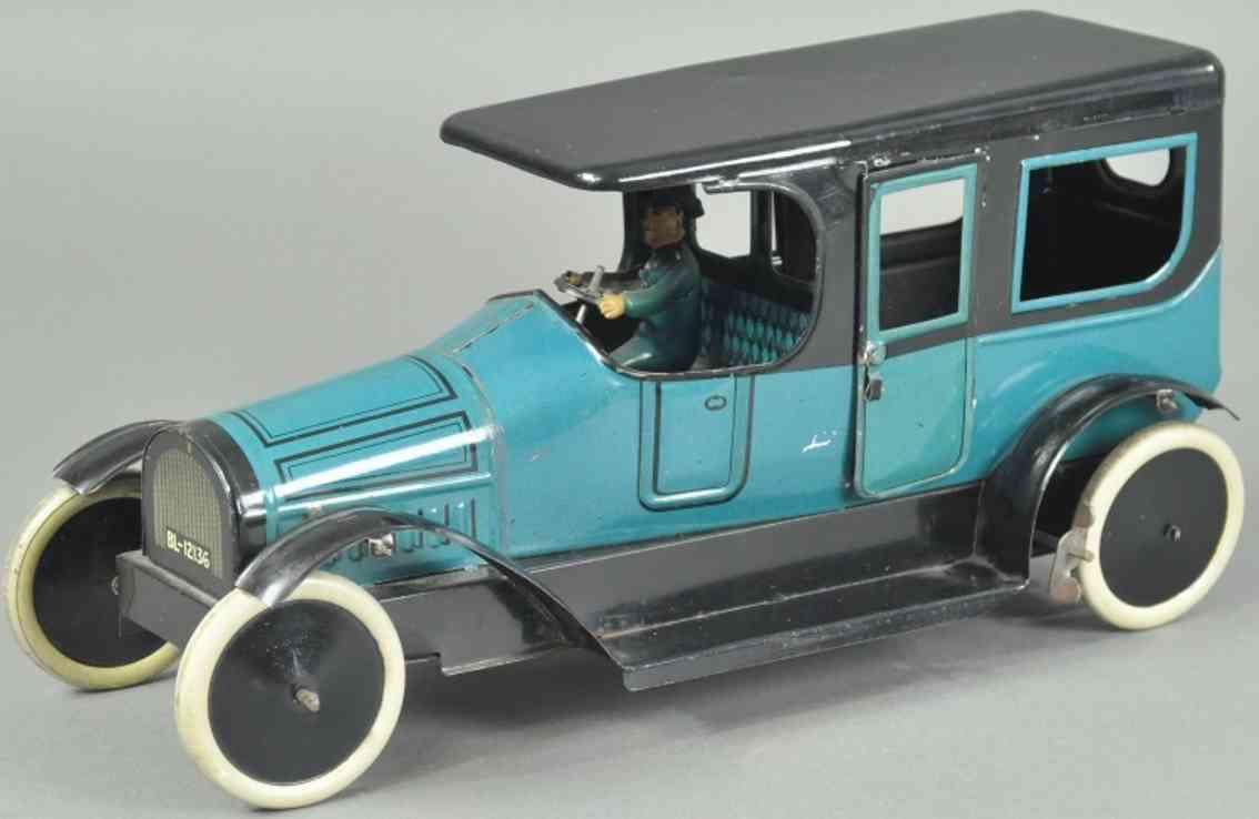 burnett ltd blech spielzeug auto limousine blau schwarz fahrer uhrwerk