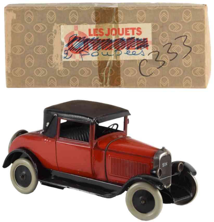 cij 555 tin toy car citroen six #555 hard top red black clockwork