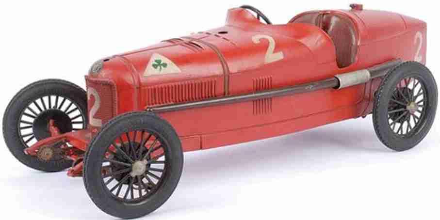 cij blech spielzeug rennauto alfa romeo p2 rennwagen rot uhrwerk