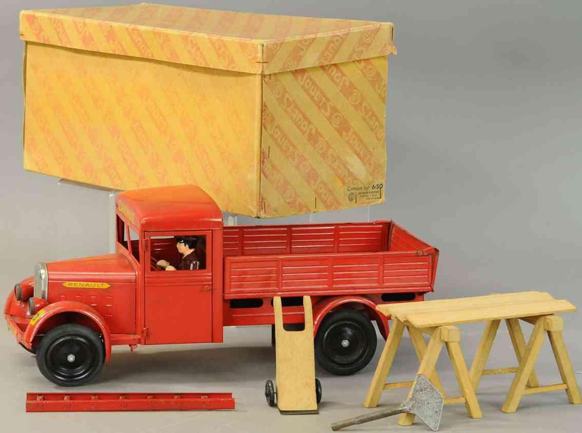 cij tin toy renault truck clockwork red