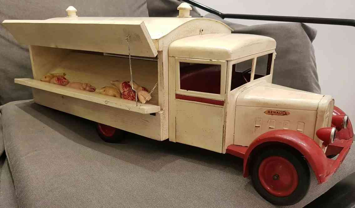 cij Meat tinplate wooden toy pork meat delivery lorry renault