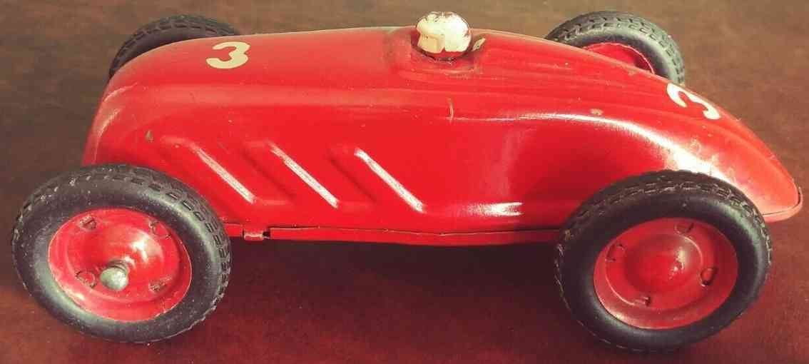cabo tin wind-up toy race car auto union racer red