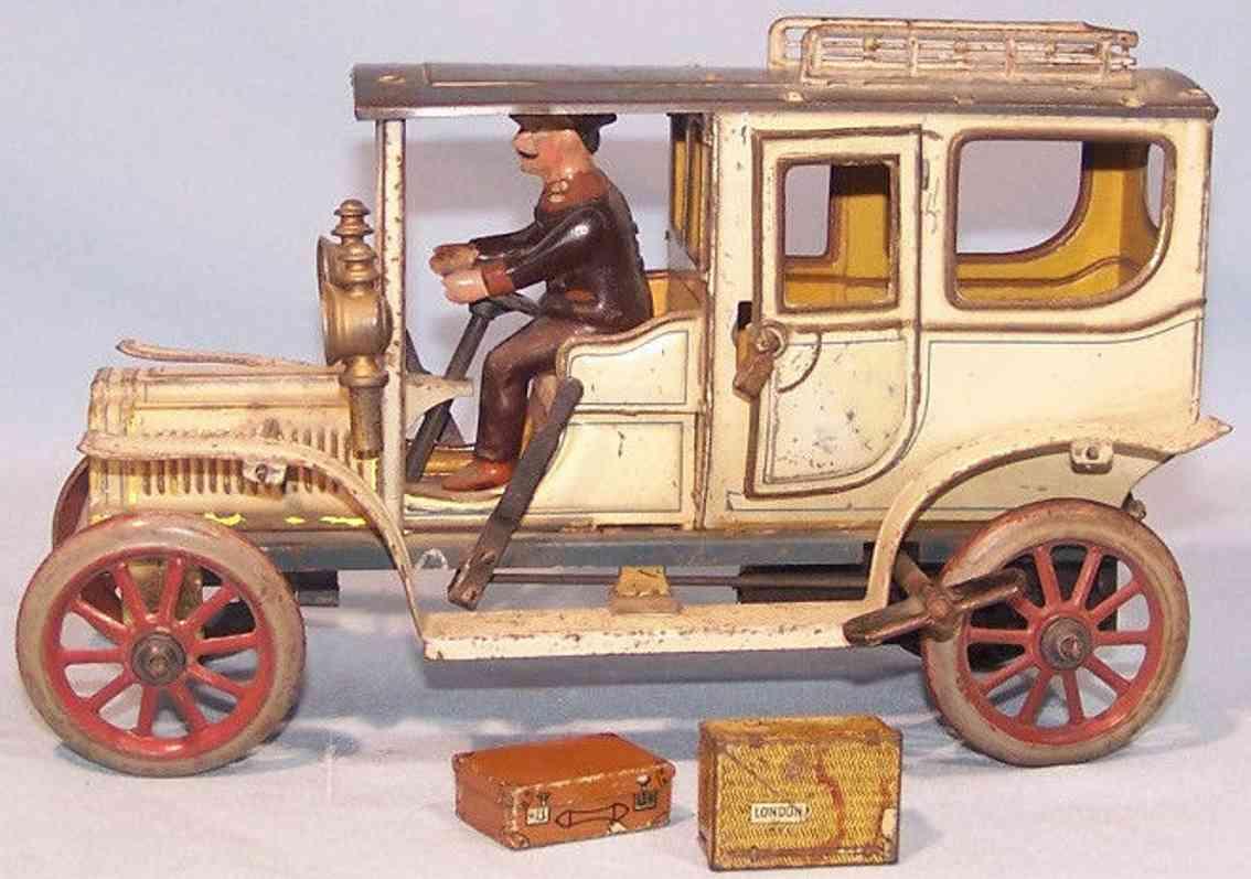 carette 3358/34 blech spielzeug auto reiselimousine uhrwerk fahrer