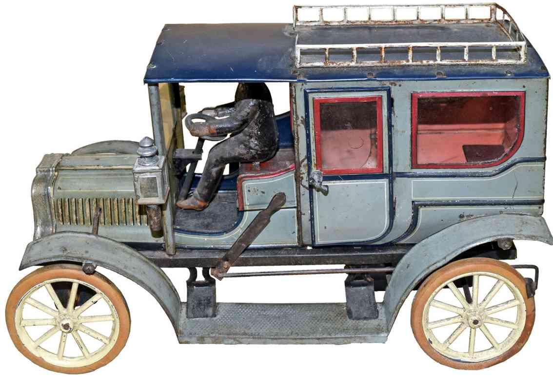 carette 3358/39 blech spielzeug luxusauto limousine uhrwerk graublau