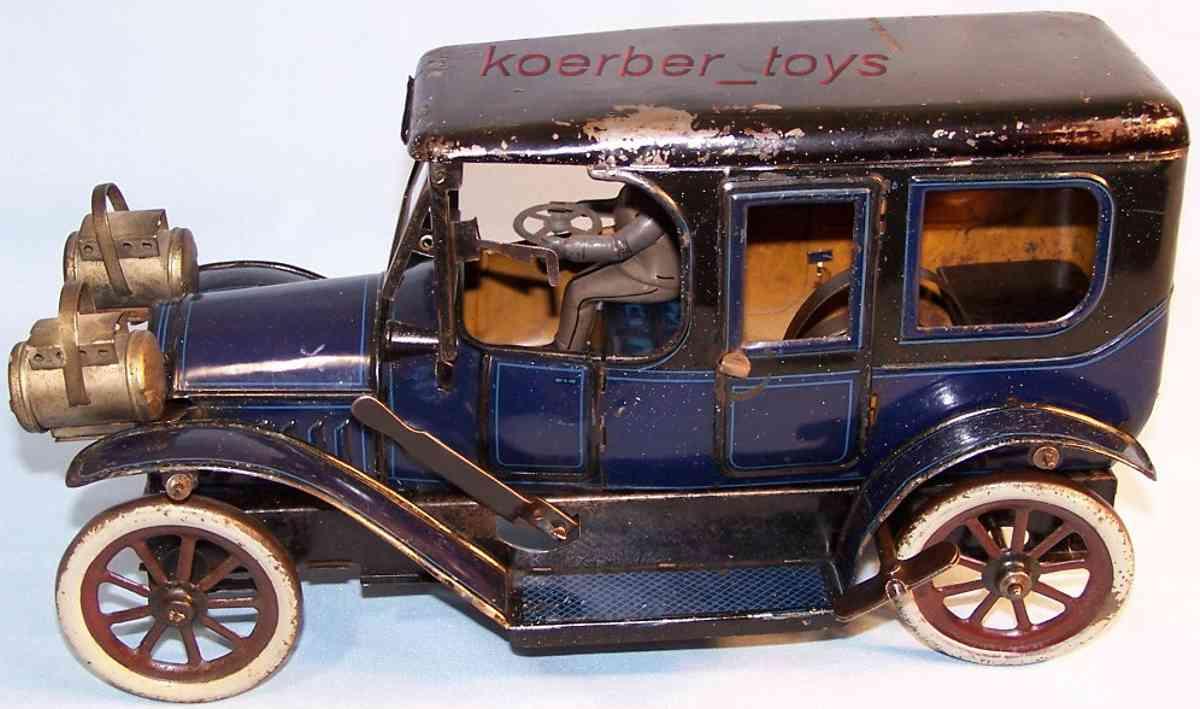 Carette Oldtimer Luxus Limousine mit Uhrwerk mit Fahrer in blau und schwarz