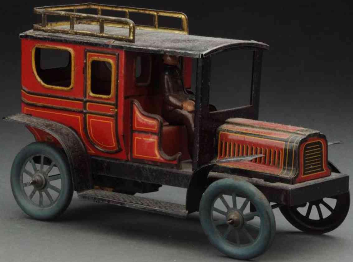 carette blech spielzeug auto limousine mit fahrer und uhrwerk rot