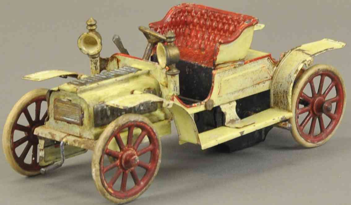 carette blech spielzeug auto tourenwagen weiss rot uhrwerk