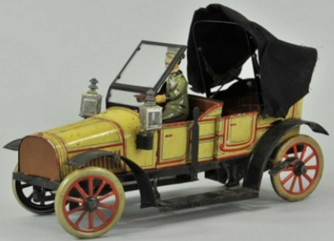 carette blech spielzeug auto phaeton kutschenauto gelb fahrer uhrwerk