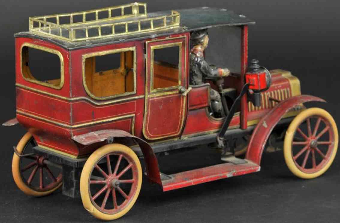 carette  blech spielzeug auto limousine rot gold chauffeur