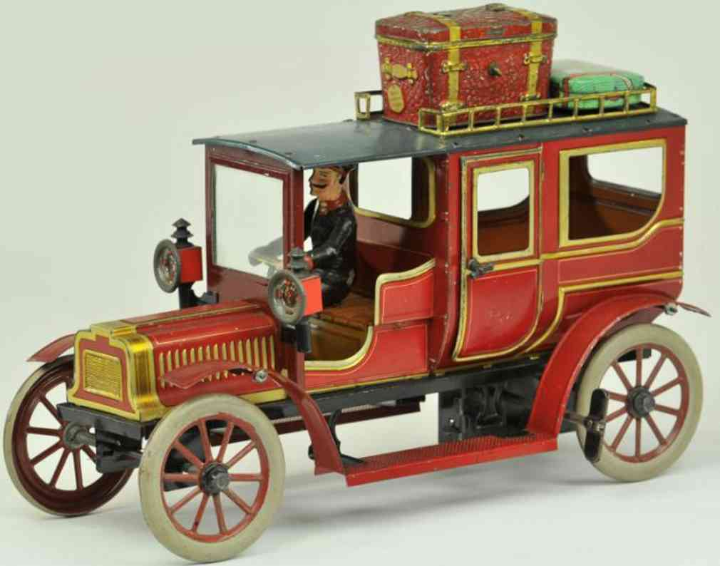 carette 3358/37 blech spielzeug auto limousine rot uhrwerk