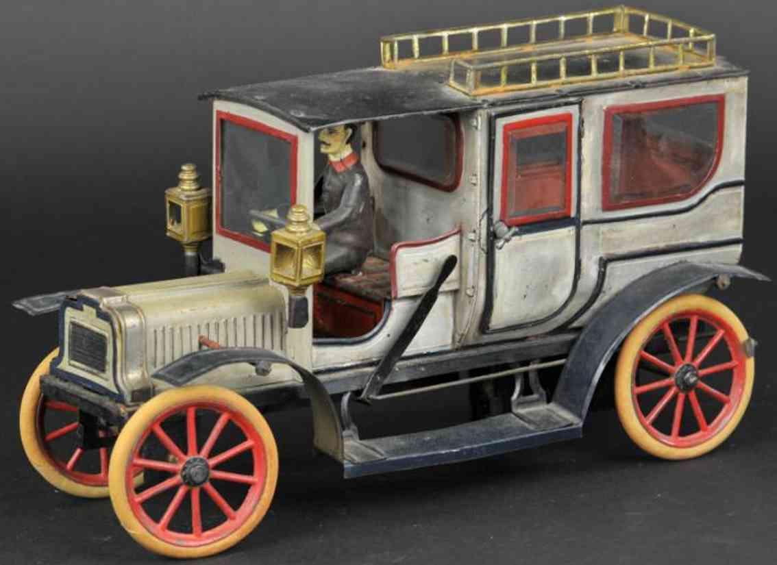 carette 3358/39 blech spielzeug auto limousine weiss gold chauffeur
