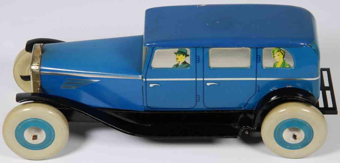 chad valley co ltd 100004 blech spielzeug auto limousine uhrwerk blau