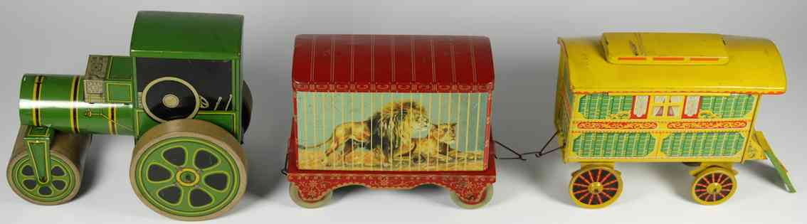 Chad Valley Co Ltd. Tin biscuit caravan and menagerie circus set