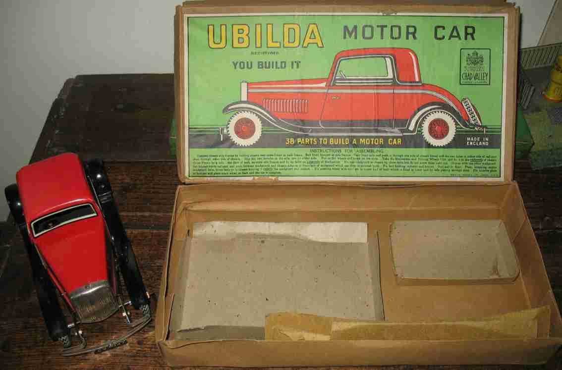 chad valley co ltd cv 1947 kit car ubilda tin toy construcktion set