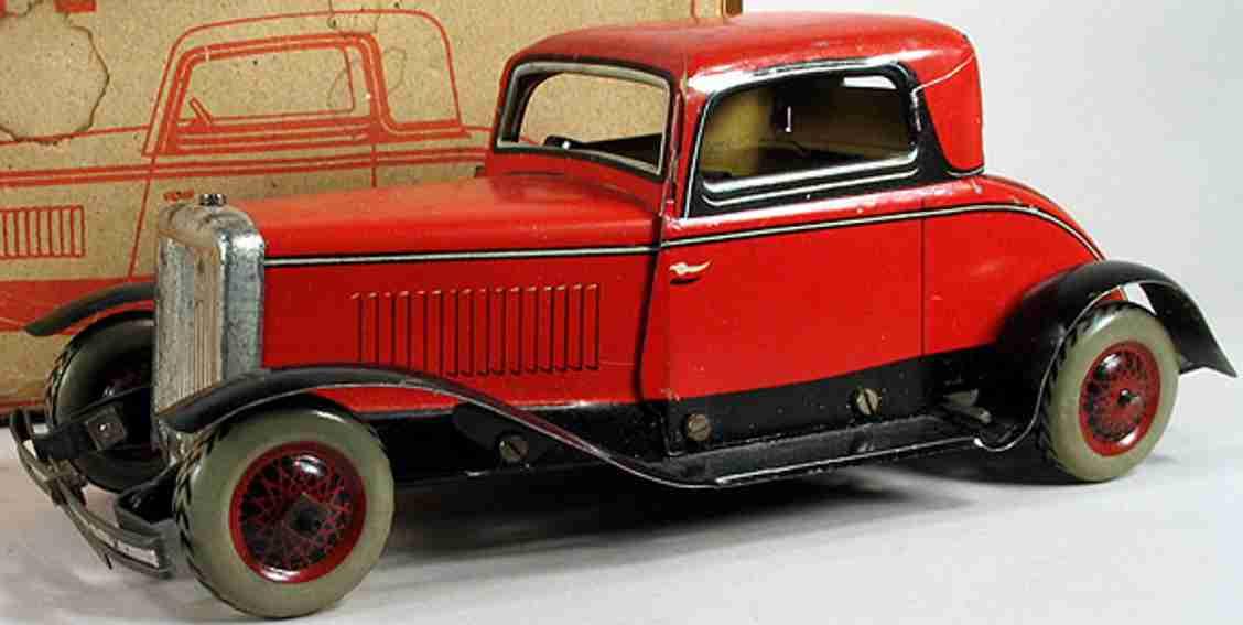 chad valley co ltd 10011 blech spielzeug auto renault coupe uhrwerk rot schwarz
