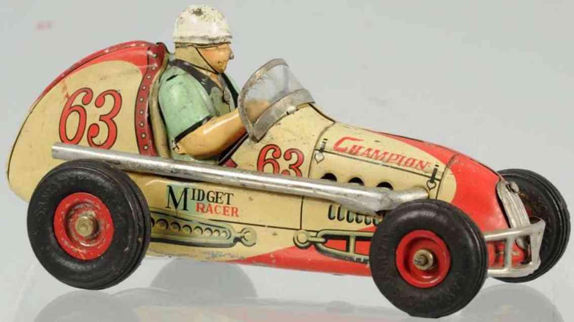 champion hardware company 63 tin toy race car friction