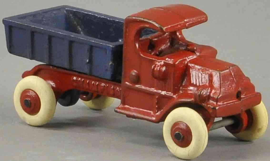 champion hardware co spielzeug gusseisen kipplastwagen rot blau